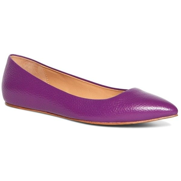 Brooks Brothers Calfskin Pointed Ballet Flats (€59) ❤ liked on Polyvore featuring shoes, flats, purple, pointed flats, ballet flat shoes, ballet pumps, pointy flats and purple flat shoes