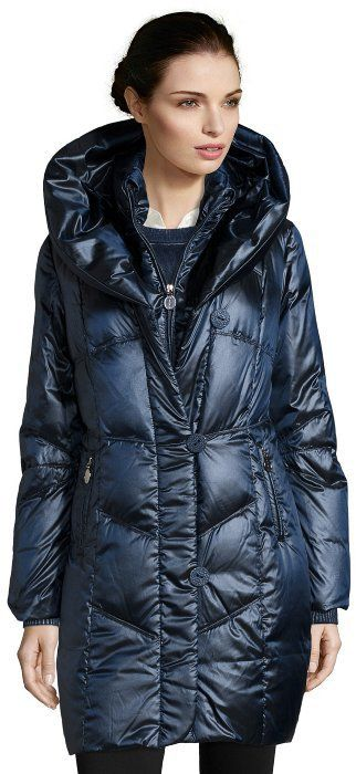 T Tahari midnight box quilted 'Gia' oversized shawl collar down jacket