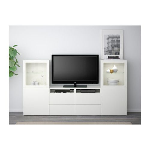 "BESTÅ TV storage combination/glass doors - Lappviken/Sindvik white clear glass, drawer runner, soft-closing, 94 1/2x15 3/4x50 3/8 "" - IKEA"