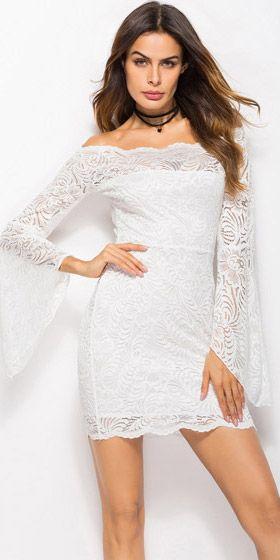 012edc153 Compre Vestido Curto Renda Festa Ombro A Ombro Manga Flare Branco