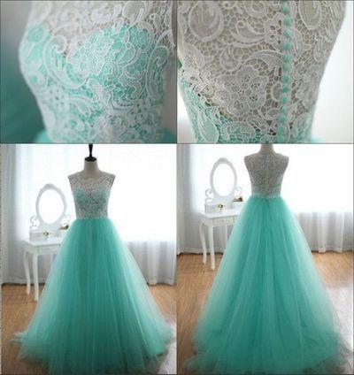 E161 O Neck Sleeveless Lace Top Mint Tulle Long Prom Dresses, Real Made Prom Dresses,Lace Top Prom Gowns,Real Made Tulle Prom Dresses from FairyDres