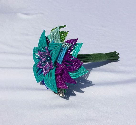 Mini Peacock French Beaded Flower Nosegay Bouquet