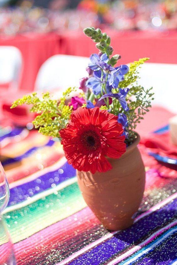 Fiesta Wedding Centerpiece / http://www.himisspuff.com/colorful-mexican-festive-wedding-ideas/6/