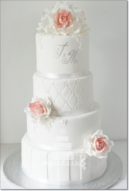 Romantic and simple vintage wedding cake would add a little bit more of color to make the cake pop maybe the flowers brighter
