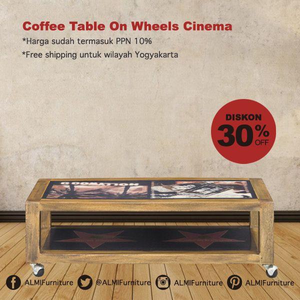 Bawa Coffee Table On Wheels Cinema di ruang tamu Anda, desainnya yang manis juga dilengkapi roda yang mudah di pindahkan. Info Pemesanan Telp. (0274) 4342 888 (Customer Service & Sales) Cek disini..http://ow.ly/YXE2O