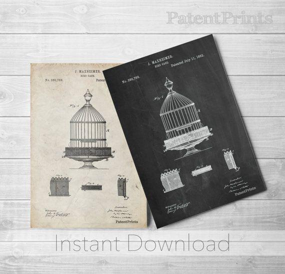 Birdcage Printables, Bird Cage Print, Hipster Wall Art, Antique Bird Cage, PP0683