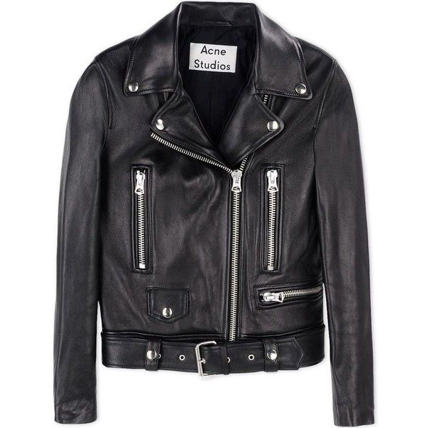 Acne Studios Leather Biker Jacket found on Polyvore featuring outerwear, jackets, black, genuine leather jacket, leather moto jacket, real leather jacket, zip jacket and zipper jacket