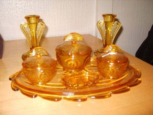amber glassware | Art Deco Amber Glass Dressing Table Set c.1920's, very attractive set ...