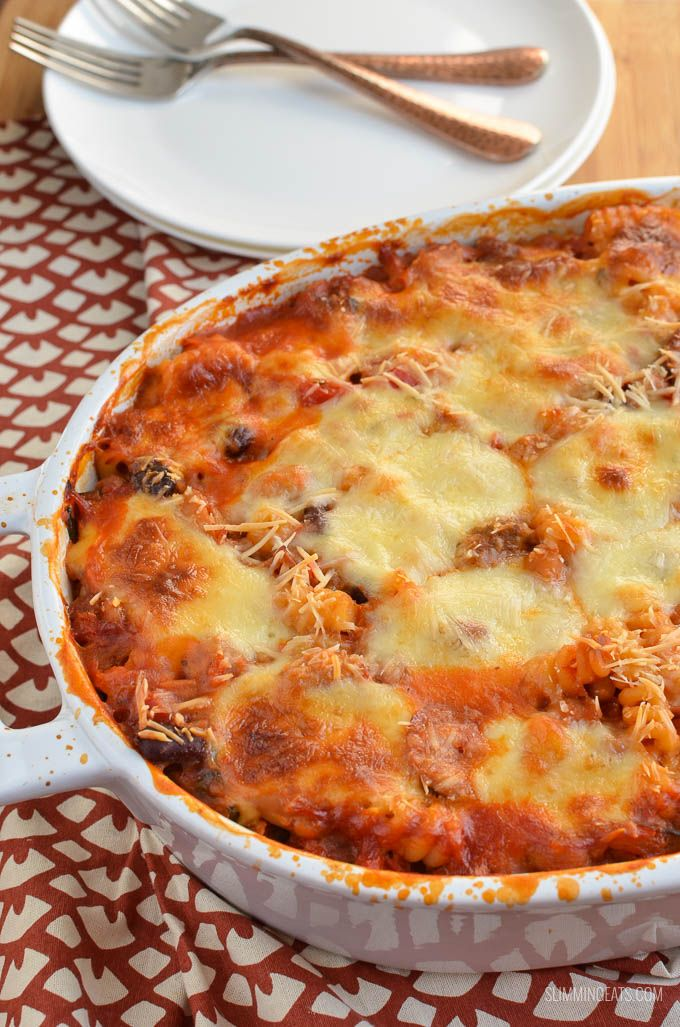 Impress the whole family with this delicious dish of Low Syn Sausage and Bean Pasta Bake. Packed with veggies and a yummy cheesy topping.