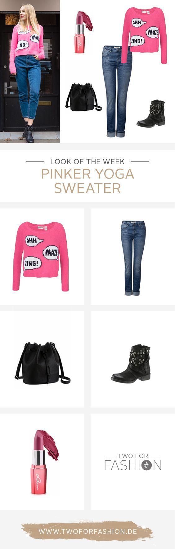 Pink ist das neue Schwarz! Dieser ausgefallene Pullover in Strickoptik mit Sprechblasenmotiv auf der Vorderseite von Reebok macht den Pulli zum besonderen Hingucker. Besonders lässig wirkt der Pullover mit einer Loose Fit Jeans und coolen Boots.