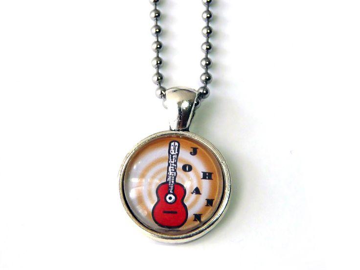 Cabochon Schmuck - Namens-Kette mit roter Gitarre - ein Designerstück von csoMunich bei DaWanda