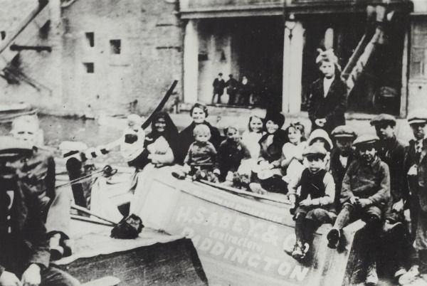 "Caption: ""H Sabey & Co narrowboat 'Asbestic' with children on the Grand Junction Canal"""
