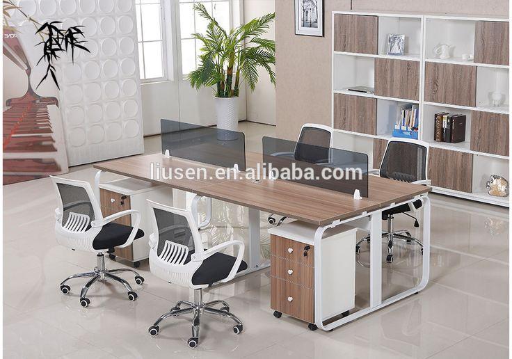 High Class 4 Seater Modular Office Furniture Wooden Office