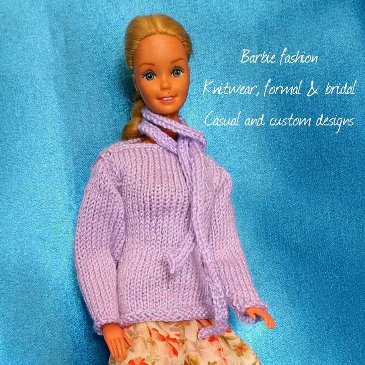 Barbie hand knitted lilac jumper and scarf set
