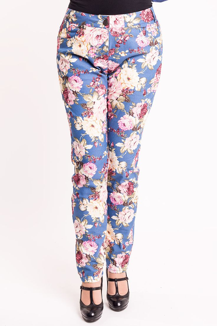 Super seje Blå bukser med smukke blomster Veto Modetøj til Damer i behagelige materialer