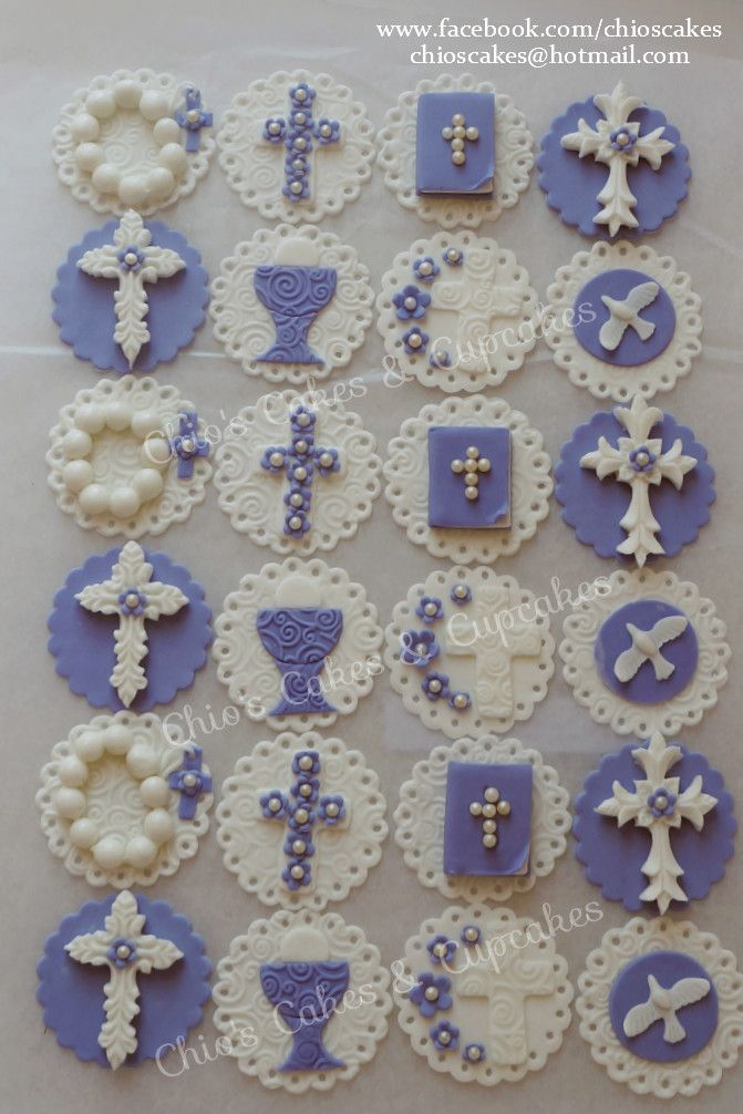 Communion Fondant Cupcake / Cookie Toppers. Follow me: www.facebook.com/chioscakes #communion #communionfondantcupcaketoppers #communioncupcakes #communioncookies