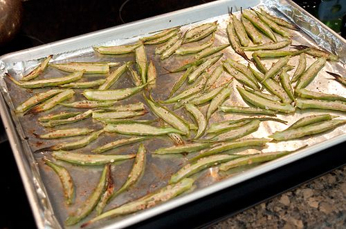 Okra chips after initial roasting