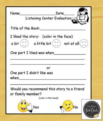 listening center response sheet | ... this free Listening Center Response sheet, plus another simple one