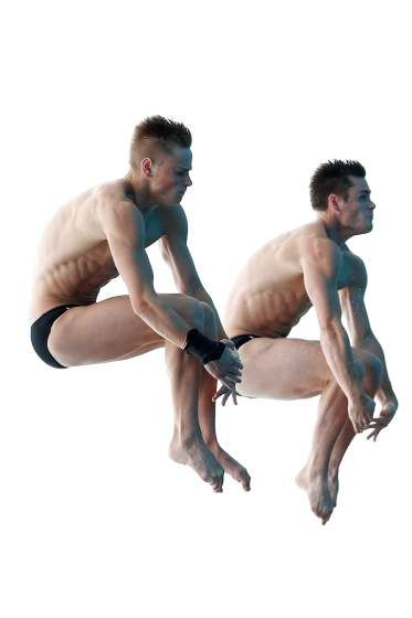 David Boudia and Steele Johnson of United States compete in the men's 10M Synchro Springboard Preliminary on day Two of the 19th FINA Diving World Cup at the Oriental Sports Center in Shanhai on July 16, 2014.
