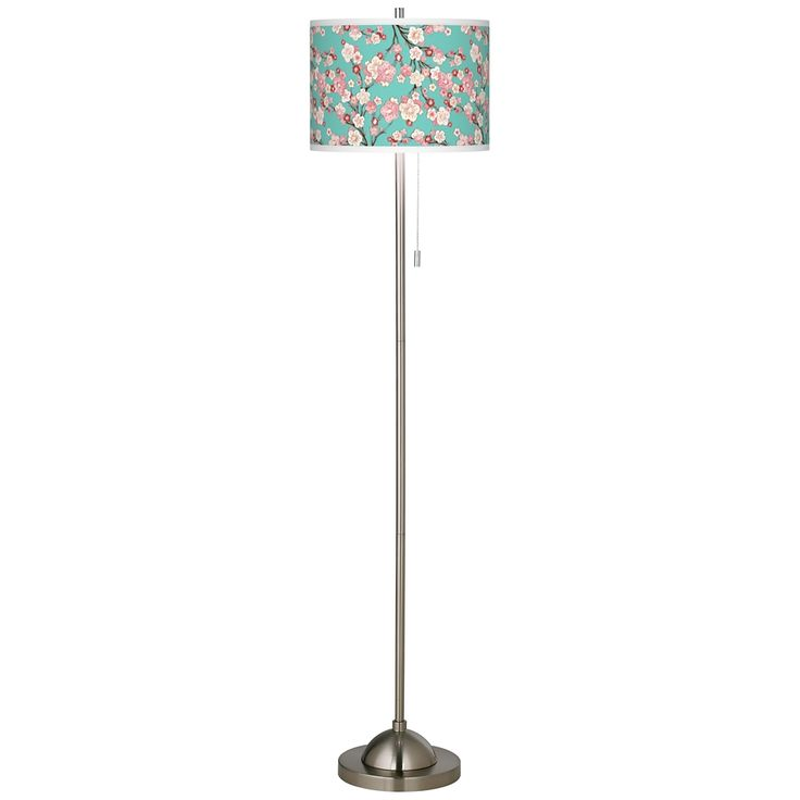 Cherry Blossoms Brushed Nickel Pull Chain Floor Lamp - Style # 99185-5M910