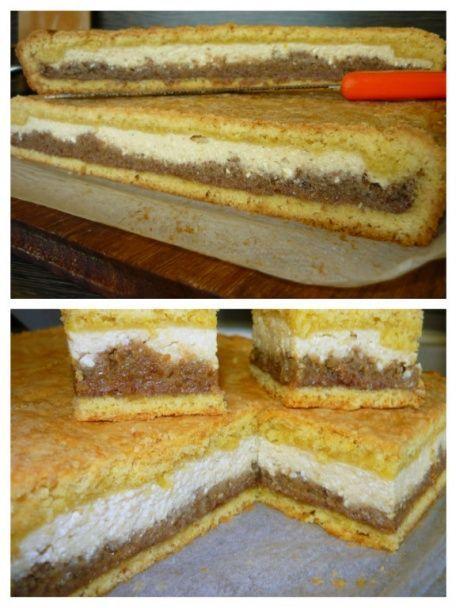 Tvarohovo-orechový koláč zo špaldovej múky