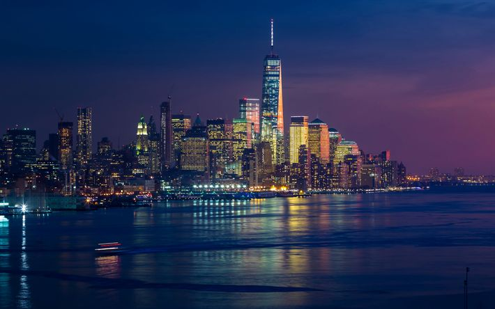Download wallpapers New York, America, 4k, metropolis, skyscrapers, USA, nightscapes