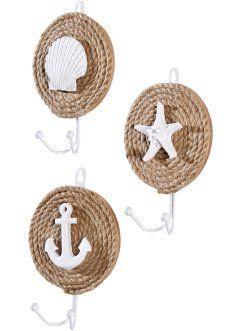 Настенные крючки «Маритим» (3 шт.), bpc living, песочный/белый