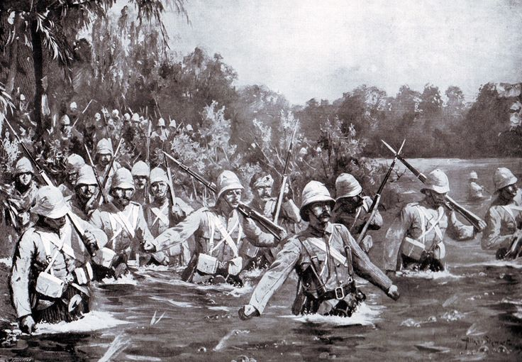 1st Argyll and Sutherland Highlanders, the old 91st, crossing the Modder River at Rosmead during the battle on 28th November 1899