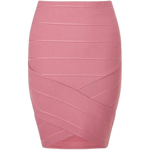 Miss Selfridge Pink Bandage Skirt (£31) ❤ liked on Polyvore featuring skirts, mini skirts, pink, miss selfridge skirts, red skirt, pink skirt, short red skirt and bandage skirt