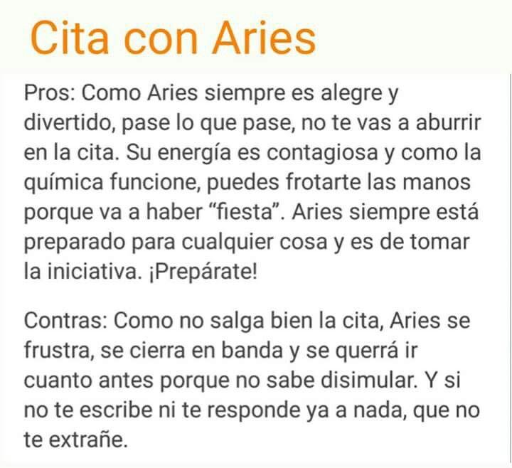 Cita con Aries: pros y contras