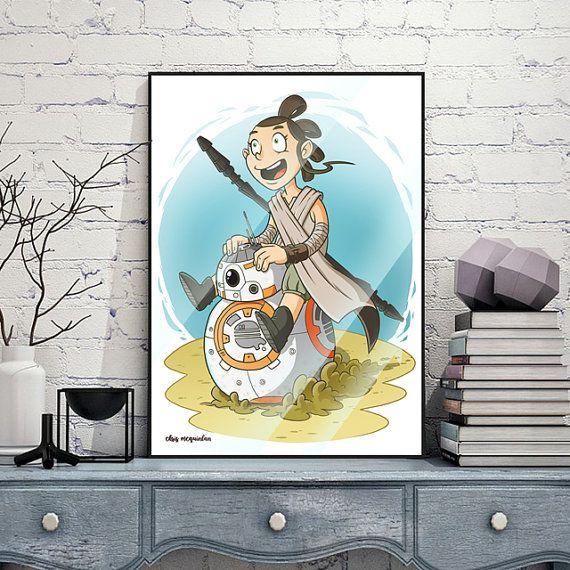 Kiddie Rey  Star Wars Print by chrismcquinlanart on Etsy