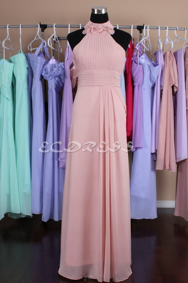 Halter Bridesmaid Dress Pearl pink Party Dress Blush by ecdress, $69.00