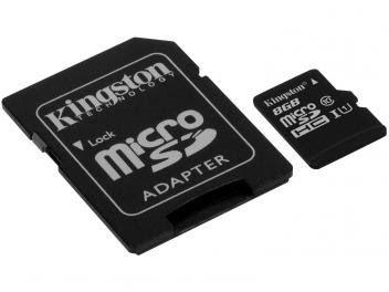 Cartão de Memória 8GB Micro SDHC com Adaptador Kingston SDC10 8 GB << R$ 990 >>