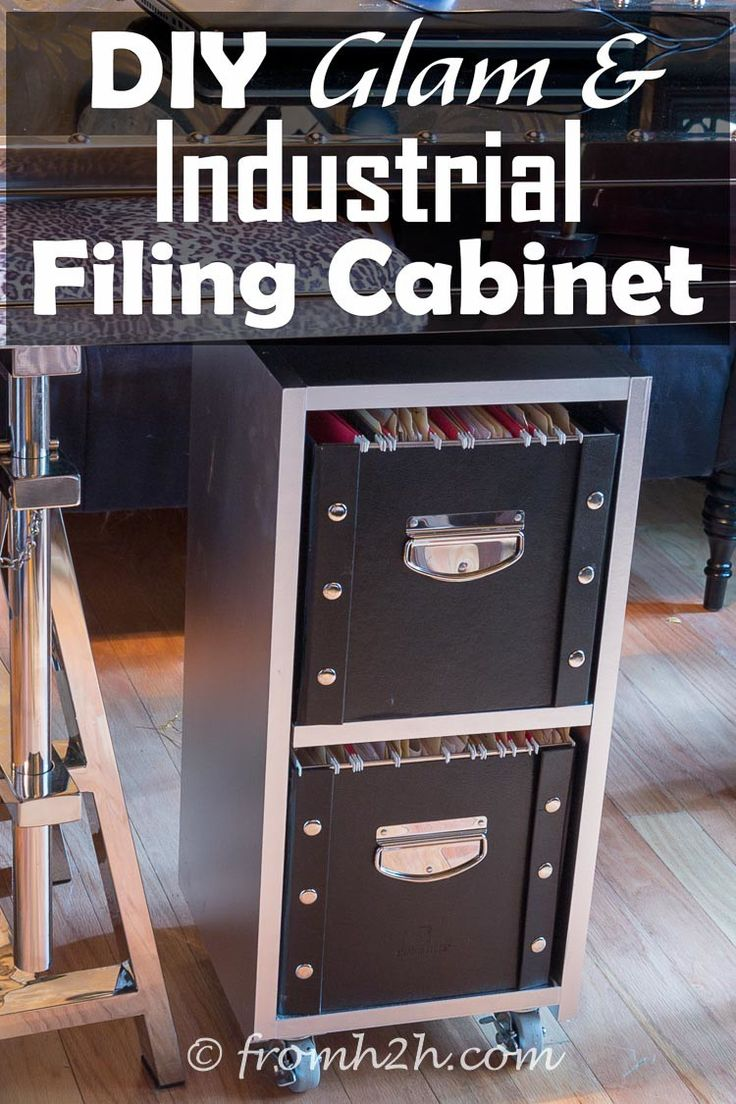 DIY Glam Industrial Filing Cabinet | This filing cabinet is on wheels which makes it really convenient to move around.  It looks so much better than a regular metal filing cabinet, and is really inexpensive to make!