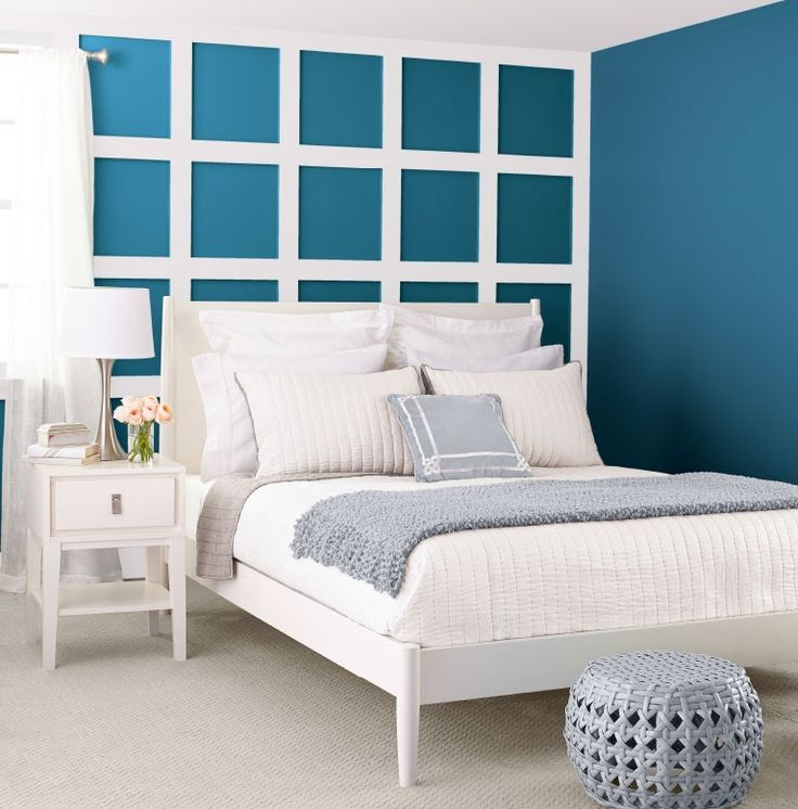 Pair A Rich Blue Wall Color With Soft Grays To Create Balance In Your Bedroom  Decor