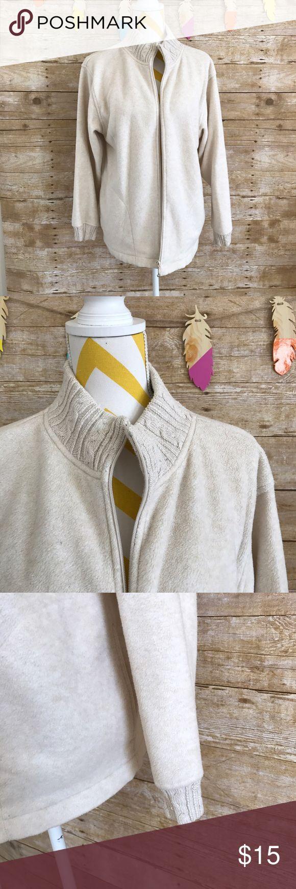 Karen Scott sport cream knitted fleece sweater EUC! 72% polyester 28% rayon, pockets on both side Karen Scott Sweaters Cardigans