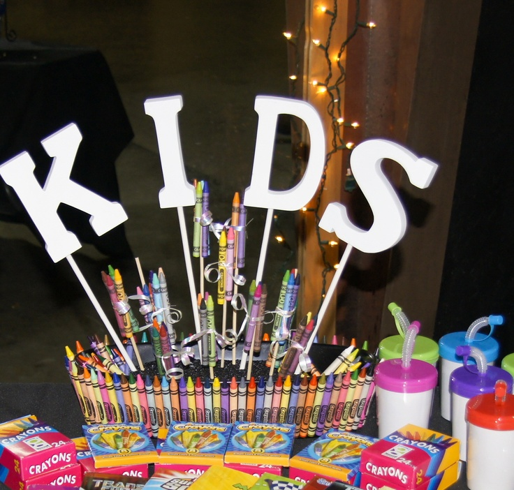 I didn't make this my mother in law did. It was originally used for the centerpiece on the kids table at my wedding, but now its the crayon container for my kids colors