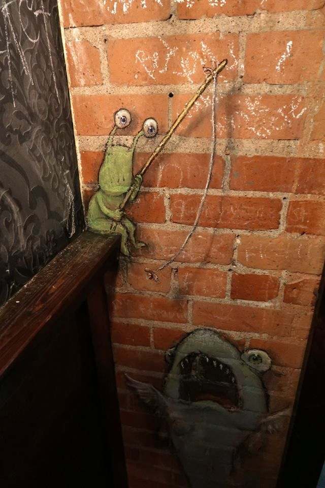 Nothing breeds results like a slack line and a daydream. David Zinn, 2017. Mash, Ann Arbor, Michigan
