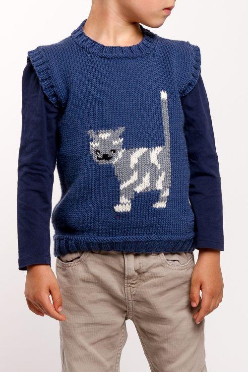 Miau! Kostenlose Strickanleitung: Kinder-Pullunder mit Katze - Initiative Handarbeit