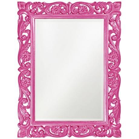"Howard Elliott Chateau 31"" x 41"" Hot Pink Wall Mirror -"