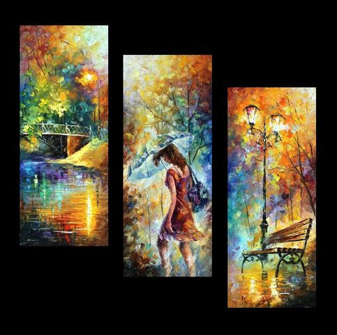"""Aura of Autumn (Set of 3 paintings)  —  PALETTE KNIFE(3) Oil Painting On Canvas By Leonid Afremov  Size: 16"""" x 40"""" Each (40cm x 100cm) from ..."""
