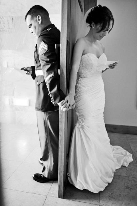 """Alternative to those who want a few moments alone but don't want to do A """"First Look"""" ceremony.  Love the idea of writing a letter to each other to read before the wedding...and getting this shot :)"""