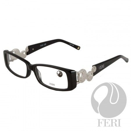 FERI - Ankara Silver - Optical - FERI Optical glasses are manufactured in Italy - Acetate optical glasses - Embellished with silver coloured metal and clear stones - FERI logo on both outer arms - Rectangular frame shape - Comes with non-prescription plano Lens - Incredibly unique styling will turn heads  *FERI Optical glasses DO NOT come with prescription lenses. Please take the frames to your Optician to have your custom prescription lens installed.*
