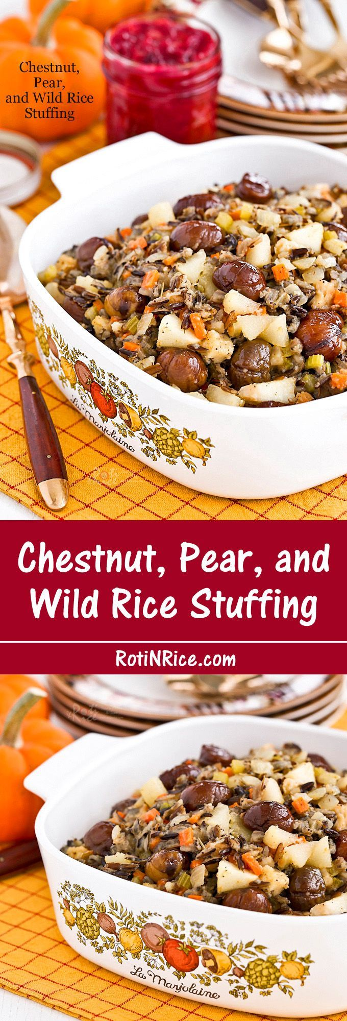 This delicious Chestnut, Pear, and Wild Rice Stuffing is one I have made year after year. It brings all the flavors of the holiday and season together. | http://RotiNRice.com