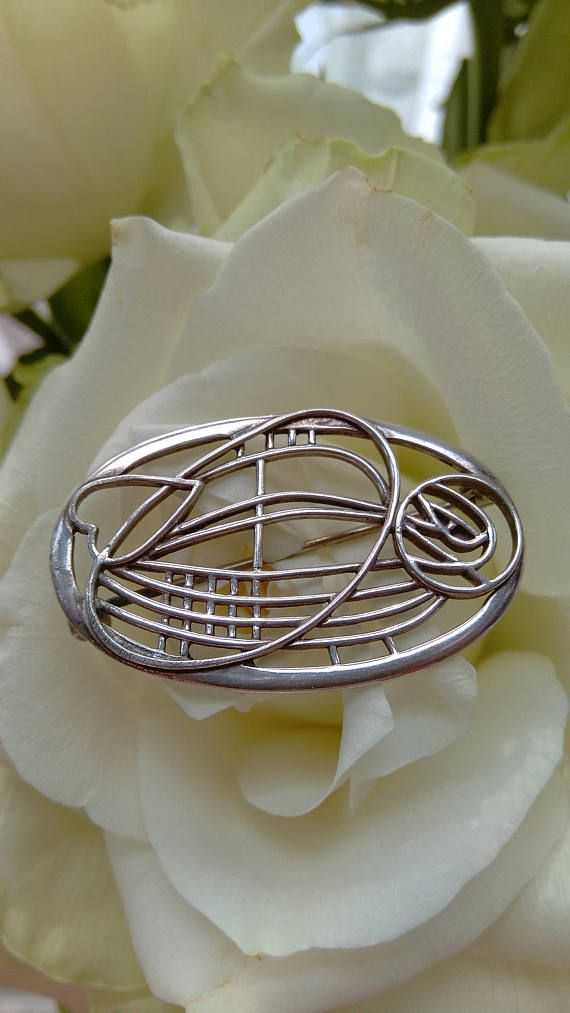 Beautiful Sterling Silver Rennie Mackintosh Style Brooch. Made By Carrick  Jewellery Ltd. Stamped 925