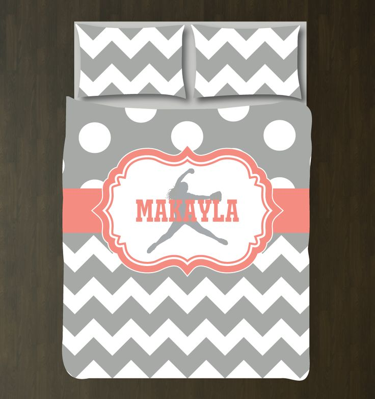 Personalized softball pitcher duvet cover and shams. It is perfect for any softball player's bedroom. Softball themed girls bedding for bedroom. Team Gift