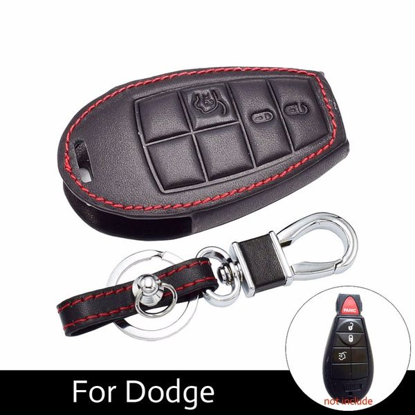 Leather Smart Car Key Cover Fob Cases For Dodge Challenger Charger