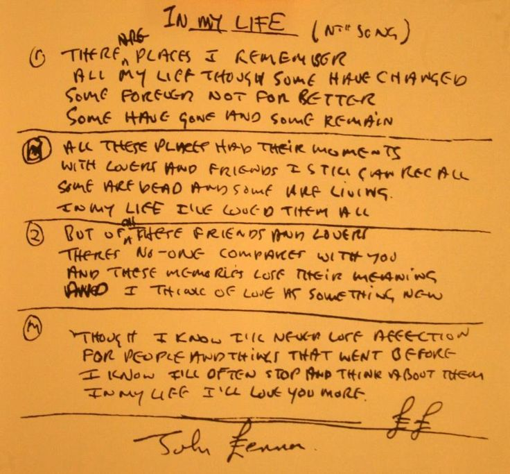 "Handwritten lyrics to ""In my Life"".I love this song..LENNON WAS AMAZING..He lived life to the fullest"