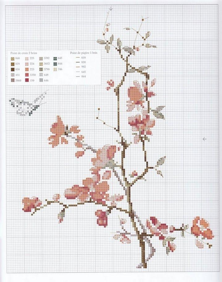 Cross stitch pattern. Flower. Cherry blossoms. Butterfly.