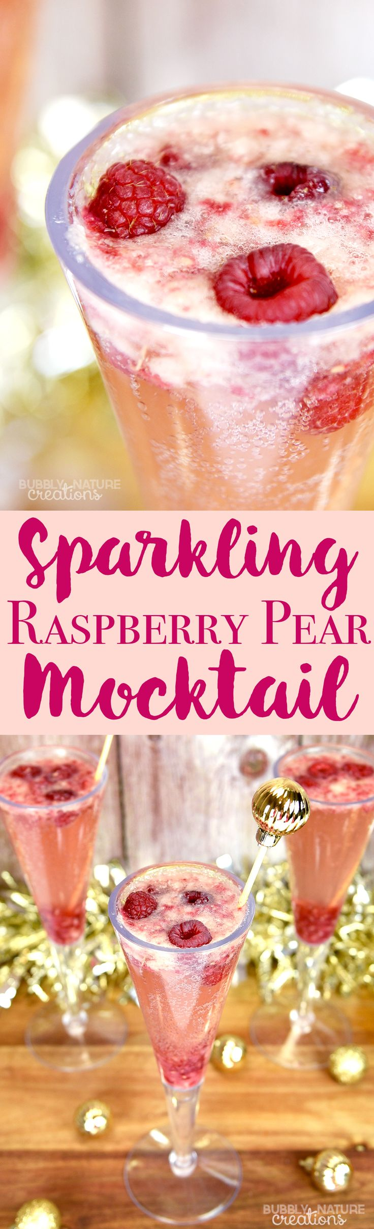 Sparkling Raspberry Pear Mocktail! Delicious drink for a holiday party or any celebration! #SparklingHolidays AD